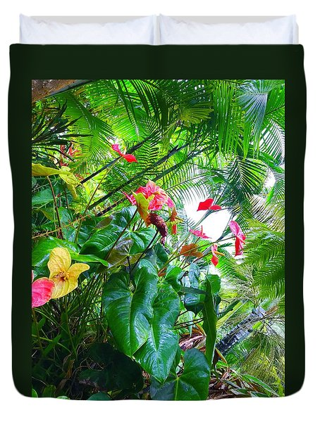 Robins Garden With Anthuriums And Ferns Duvet Cover