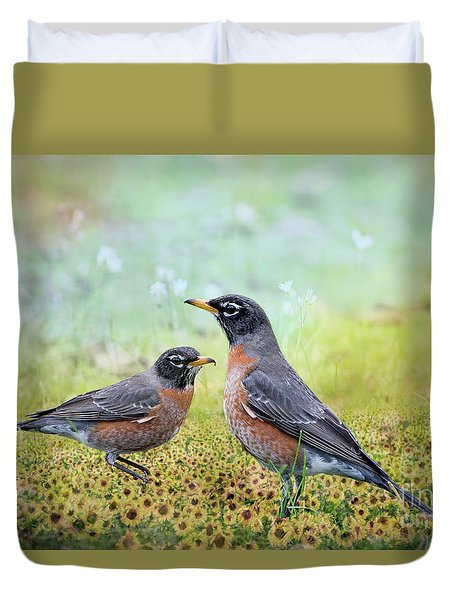 Duvet Cover featuring the photograph Robins, Heralds Of Spring by Bonnie Barry