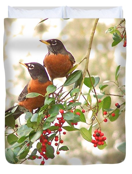 Robins In Holly Duvet Cover
