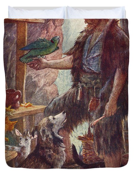 Robinson Crusoe And His Pets. From Duvet Cover