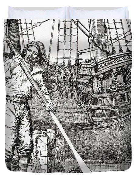 Robinson Crusoe Rowing To Safety Duvet Cover