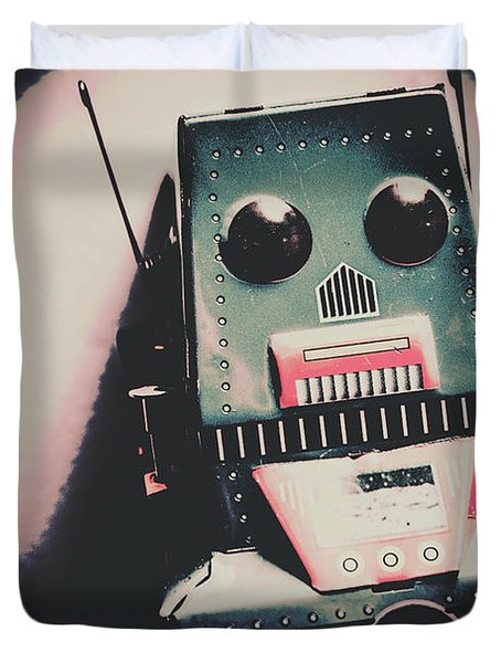 Robotic Mech Under Vintage Spotlight Duvet Cover