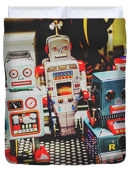 Robots Of Retro Cool Duvet Cover