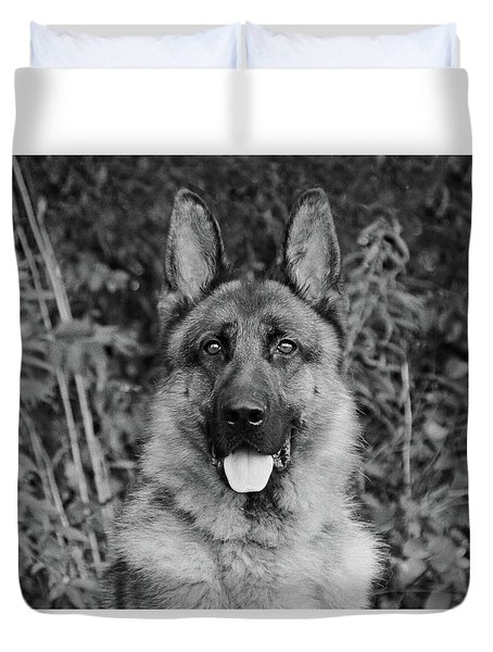 Duvet Cover featuring the photograph Rocco - Bw by Sandy Keeton