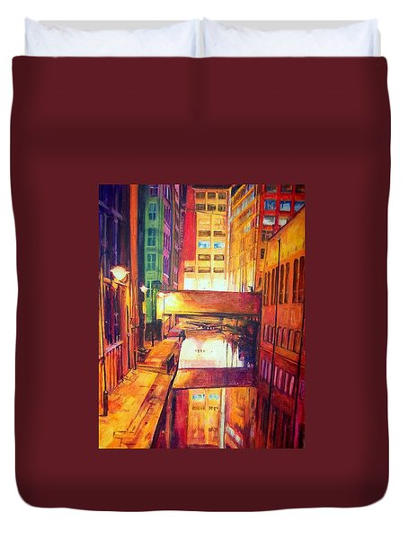 Rochdale Canal With Lock At Night Duvet Cover