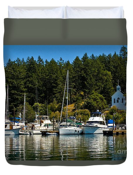 Roche Harbor Marina Duvet Cover by Chuck Flewelling