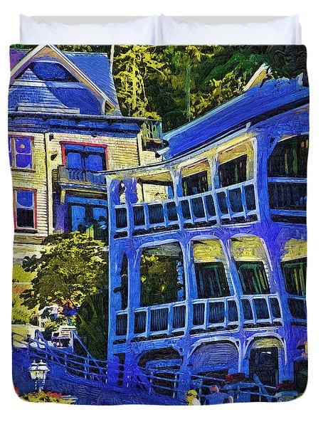 Roche Harbor Street Scene Duvet Cover