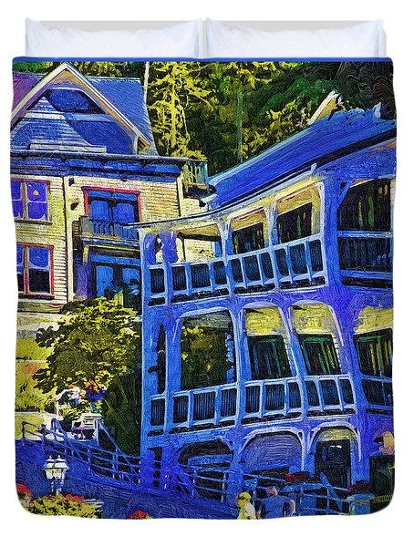 Roche Harbor Street Scene Duvet Cover by Kirt Tisdale
