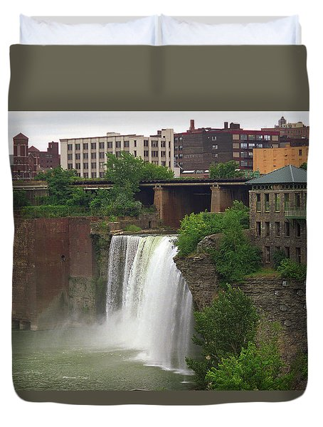 Duvet Cover featuring the photograph Rochester, New York - High Falls 2 by Frank Romeo