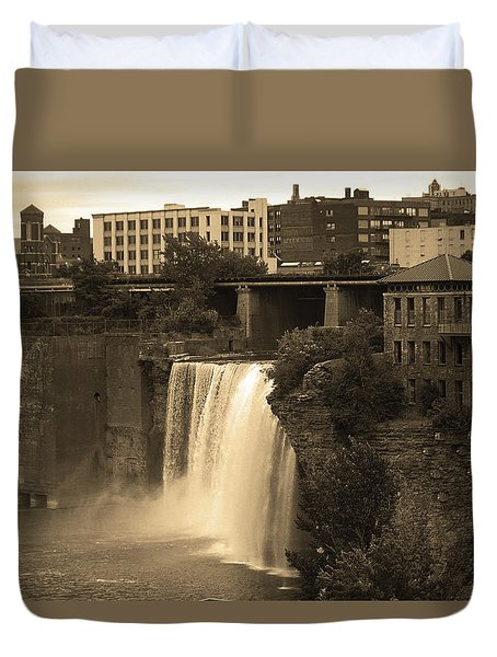 Duvet Cover featuring the photograph Rochester, New York - High Falls 2 Sepia by Frank Romeo