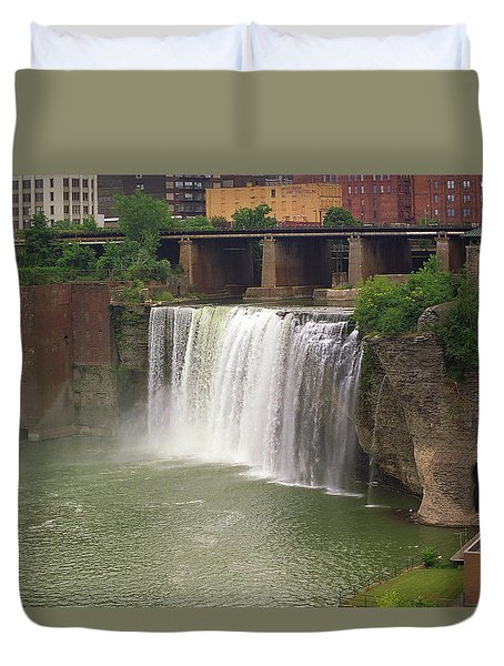 Duvet Cover featuring the photograph Rochester, New York - High Falls by Frank Romeo