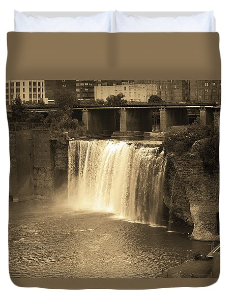 Duvet Cover featuring the photograph Rochester, New York - High Falls Sepia by Frank Romeo