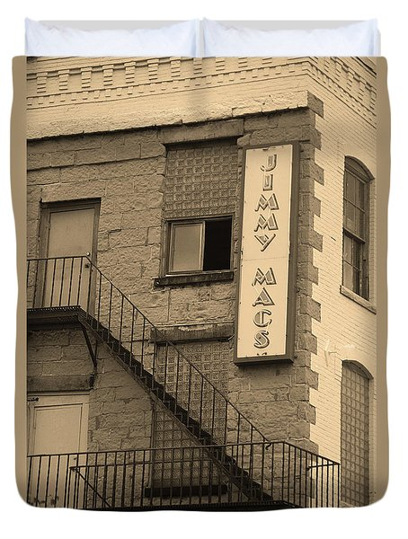 Duvet Cover featuring the photograph Rochester, New York - Jimmy Mac's Bar 2 Sepia by Frank Romeo