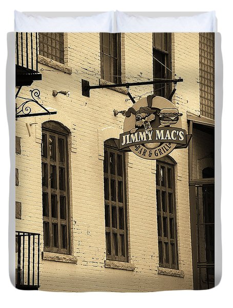 Duvet Cover featuring the photograph Rochester, New York - Jimmy Mac's Bar 3 Sepia by Frank Romeo