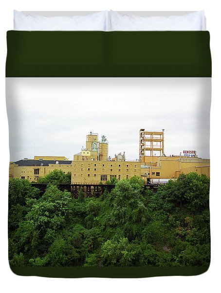 Duvet Cover featuring the photograph Rochester, Ny - Factory On A Hill by Frank Romeo