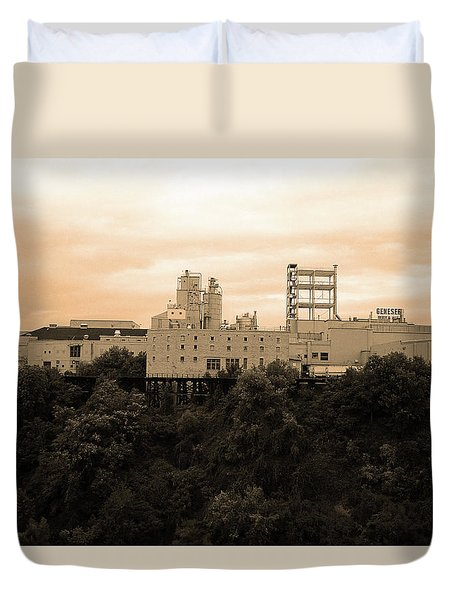 Duvet Cover featuring the photograph Rochester, Ny - Factory On A Hill Sepia by Frank Romeo
