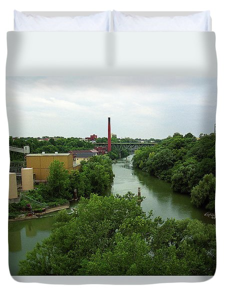 Rochester, Ny - Genesee River 2005 Duvet Cover by Frank Romeo