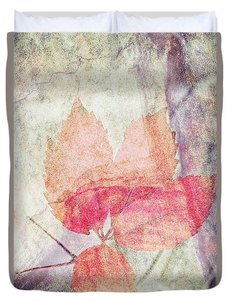 Duvet Cover featuring the photograph Rock And Leaf Composite 2 by Elaine Teague