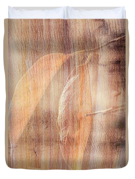 Duvet Cover featuring the photograph Rock And Leaf Composite by Elaine Teague