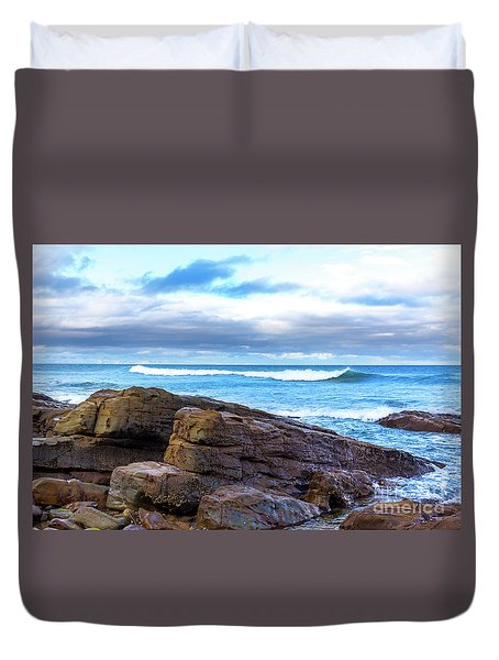 Duvet Cover featuring the photograph Rock And Wave by Perry Webster