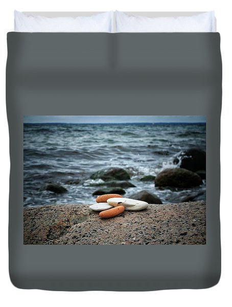 Duvet Cover featuring the photograph Rock Collection by Karen Stahlros