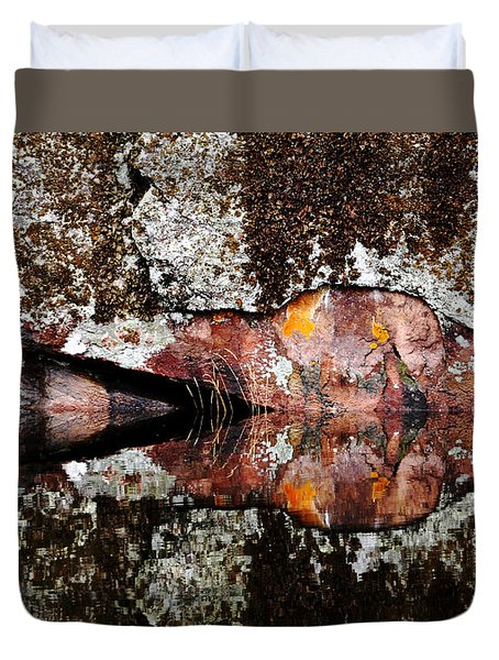 Rock Face Reflected Duvet Cover