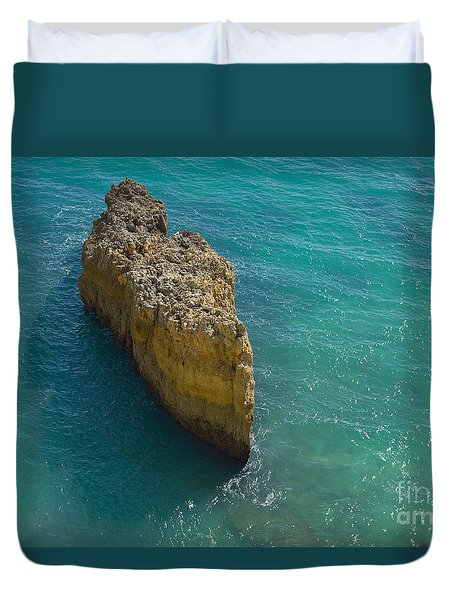 Rock Formation And The Sea In Algarve Duvet Cover