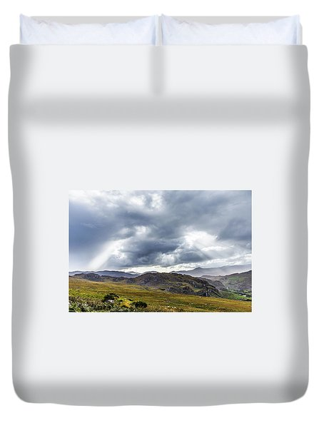 Duvet Cover featuring the photograph Rock Formation Landscape With Clouds And Sun Rays In Ireland by Semmick Photo