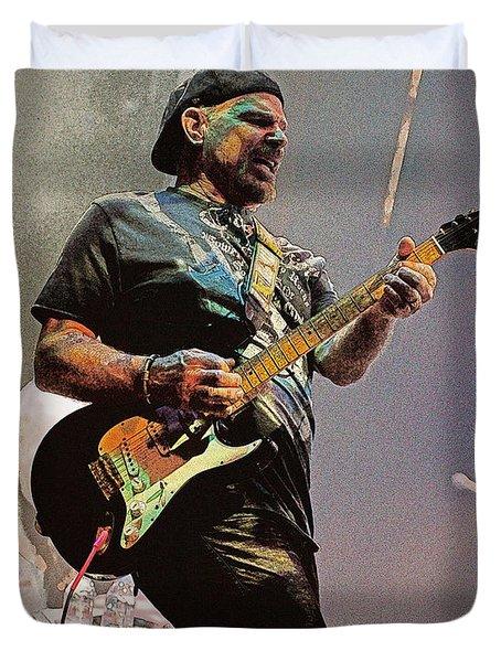 Rock Guitar Player Duvet Cover