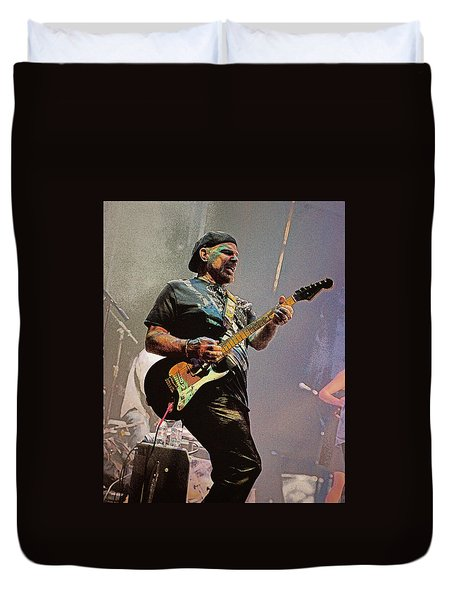 Rock Guitar Player Duvet Cover