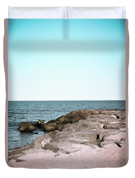 Duvet Cover featuring the photograph Rock Jetty by Colleen Kammerer
