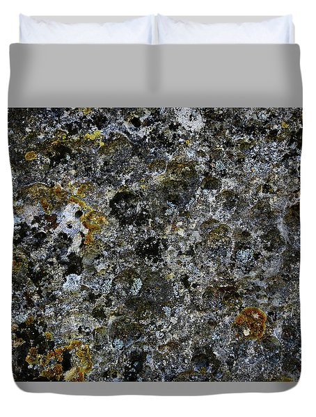 Duvet Cover featuring the photograph Rock Lichen Surface by Nareeta Martin