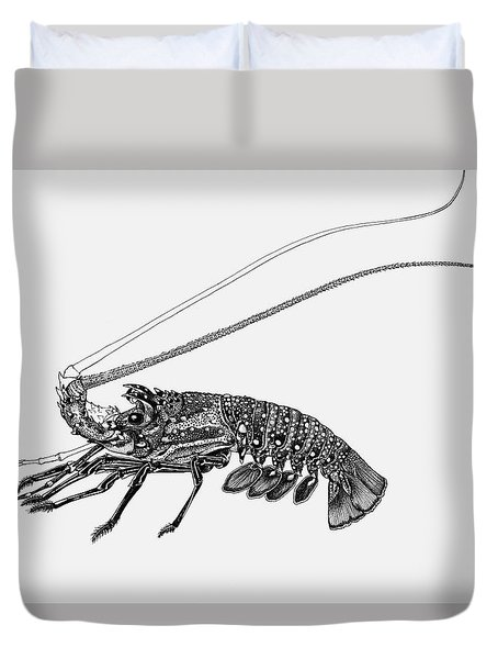 Duvet Cover featuring the drawing Rock Lobster by Judith Kunzle