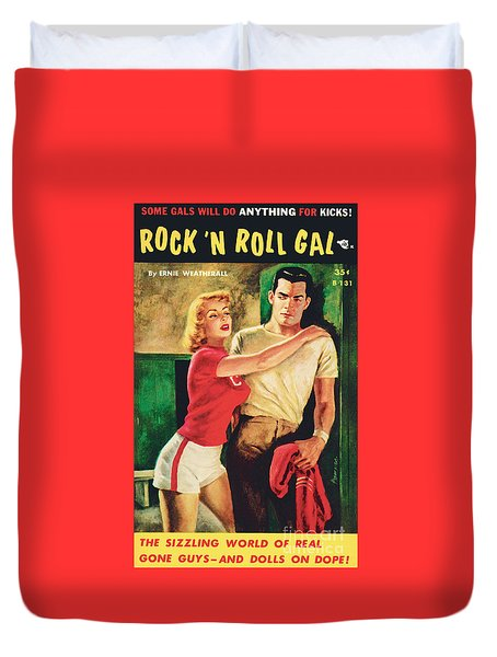 Duvet Cover featuring the painting Rock 'n Roll Gal by Owen Kampen