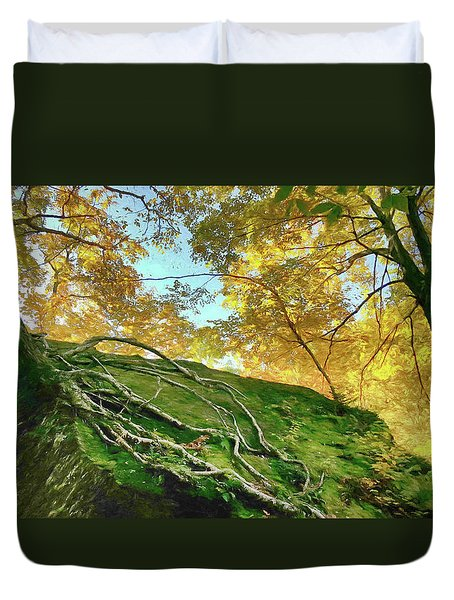 Duvet Cover featuring the photograph Rock Of Ages by Jeff Folger