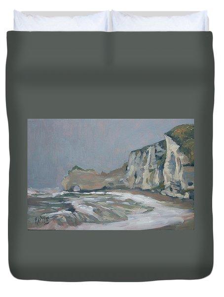 Rock Of Amont Etretat After The Rain Duvet Cover
