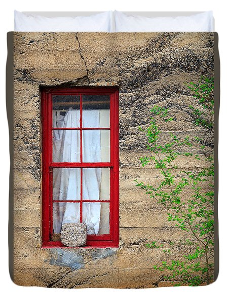 Duvet Cover featuring the photograph Rock On A Red Window by James Eddy