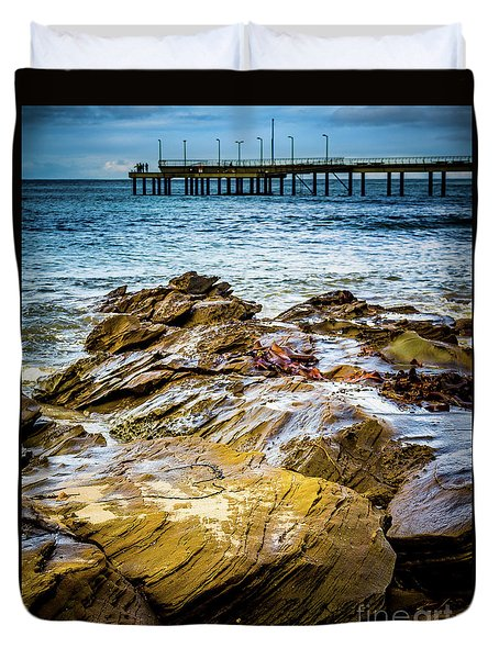 Duvet Cover featuring the photograph Rock Pier by Perry Webster