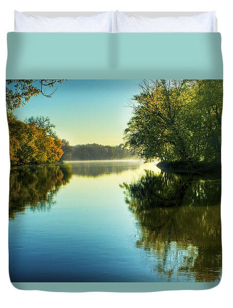 Rock River Autumn Morning Duvet Cover