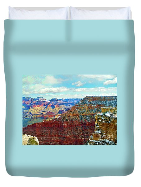Duvet Cover featuring the photograph Rock Solid by Roberta Byram