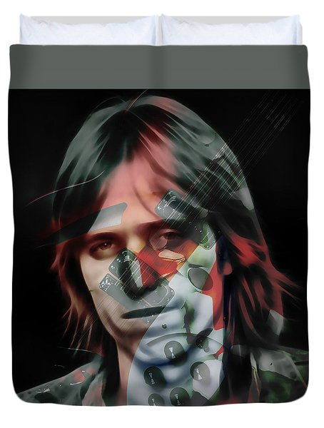Duvet Cover featuring the mixed media Rock Star Tom Petty by Marvin Blaine