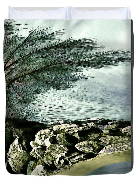Duvet Cover featuring the photograph Rock Tunnel by Pennie  McCracken