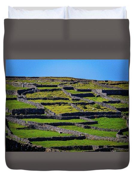 Duvet Cover featuring the photograph Rock Walls Of Inisheer, Aran Islands by James Truett
