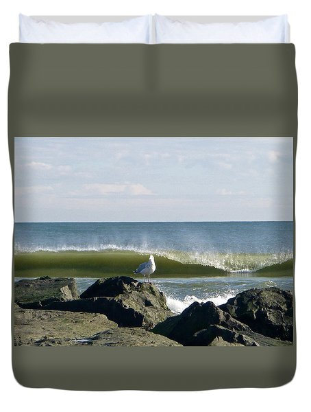 Rock, Water, Bird Duvet Cover