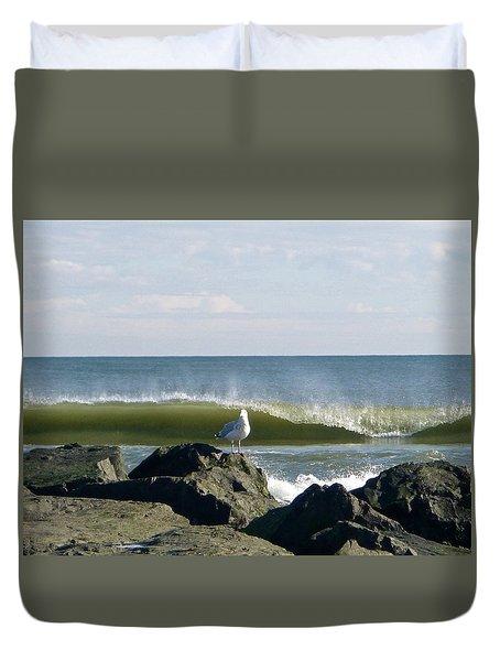 Rock, Water, Bird Duvet Cover