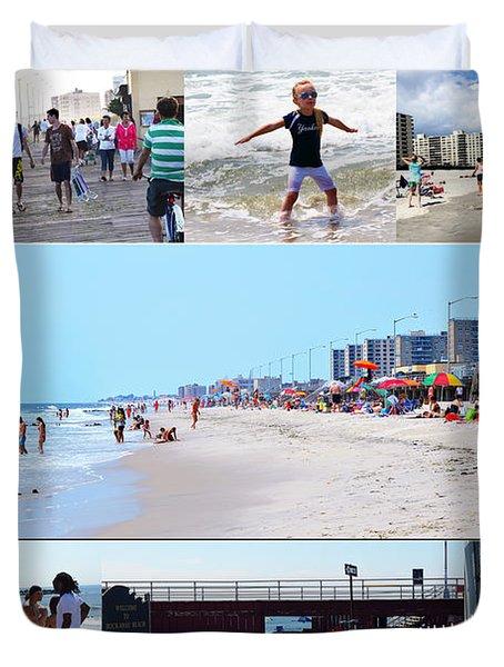 Rockaway Beach And Boardwalk 003 Duvet Cover by Maureen E Ritter