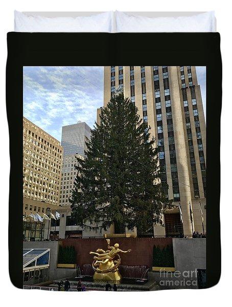 Rockefeller Center Christmas Tree Duvet Cover