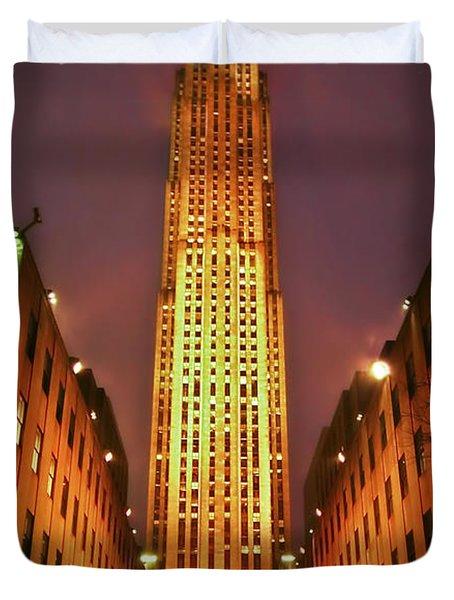 Rockefeller Center Duvet Cover by Evelina Kremsdorf
