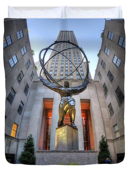 Rockefeller Centre Atlas - Nyc - Vertorama Duvet Cover
