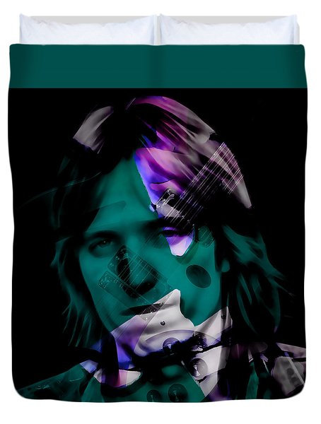 Duvet Cover featuring the mixed media Rocker Tom Petty by Marvin Blaine